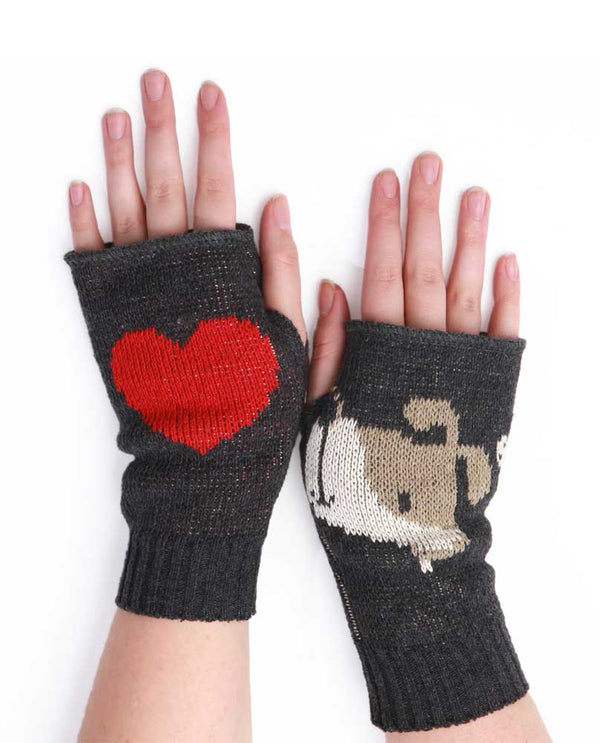 Charcoal Green 3 Bean Doggie Handwarmer 432-286 are fingerless gloves with dog and heart