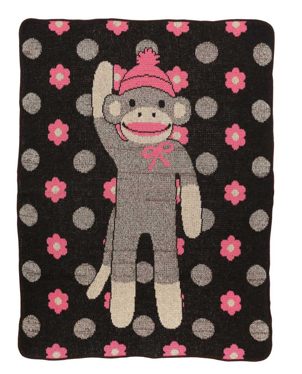 Green 3 Flower Dots Sock Monkey Throw 433-114 knitted throw with pink sock monkey and flowers