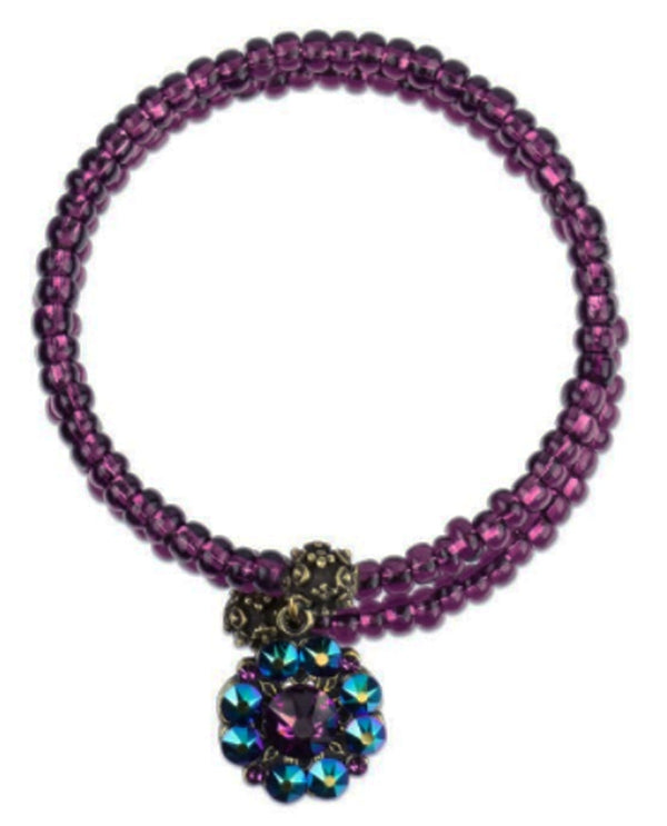 Anne Koplik SRAPSODYMA Flower Beaded Bracelet hot pink bracelet with blue flower