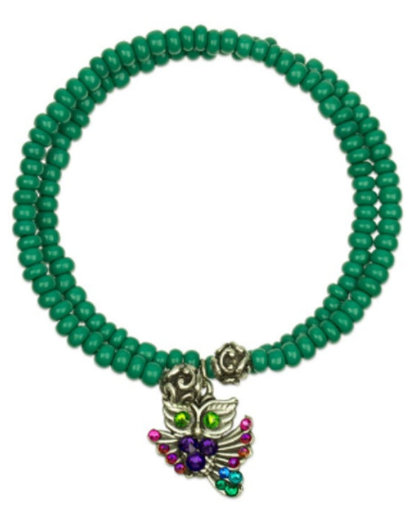 Anne Koplik WRAPSODYKN Owl Knowledge Bracelet green beaded bracelet with owl charm