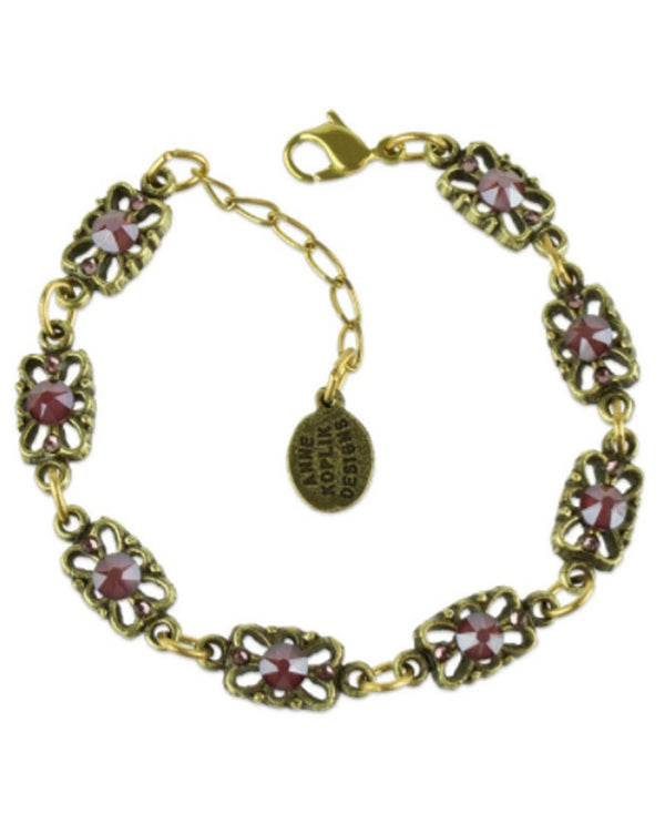 Anne Koplik BR4746DRD Filigree Bracelet gold bracelet with pink Swarovski crystals USA made