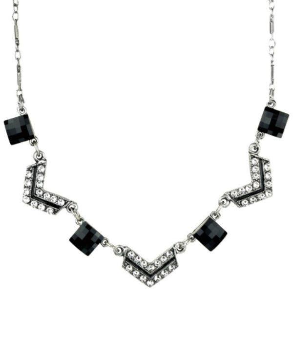 Anne Koplik N3117BLK Checkerboard Necklace boho-chic necklace with Swarovski crystals
