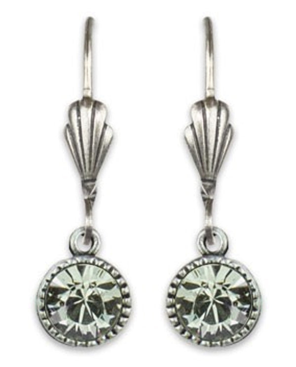 Anne Koplik ES03BLD Simple Drop Earrings with green Swarovski crystals USA made