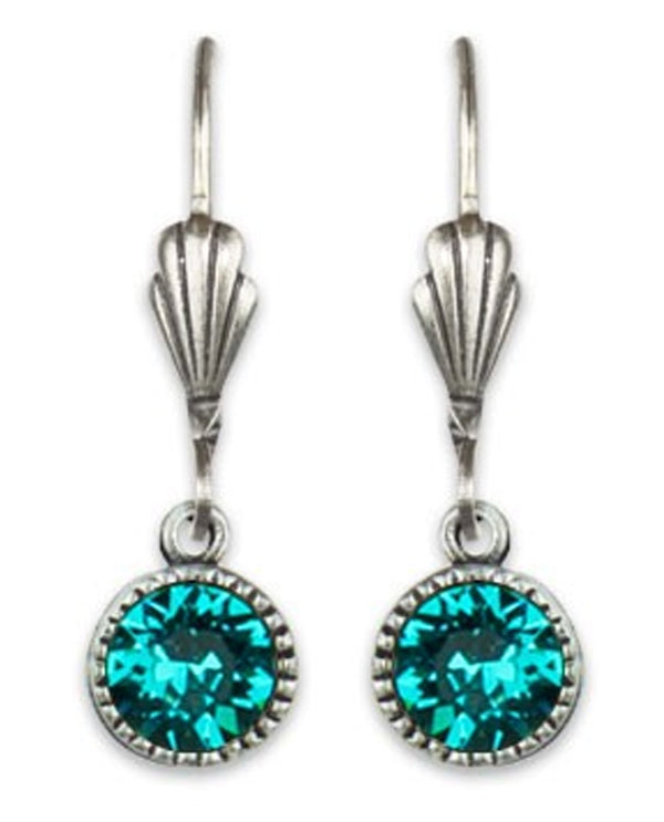 Anne Koplik ES03BLZ Simple Drop Earrings with teal Swarovski crystals made in the USA