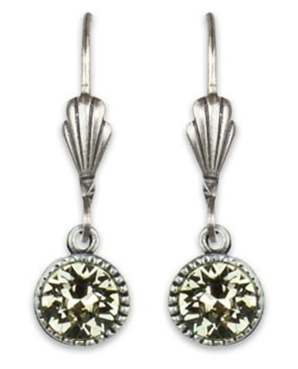 Anne Koplik ES03GRG Simple Drop Earrings with light green Swarovski crystals USA made