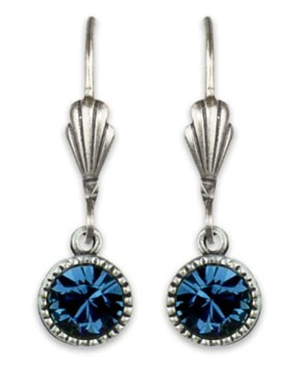 Anne Koplik ES03MON Simple Drop Earrings with blue Swarovski crystals USA made