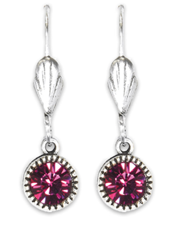 Anne Koplik ES03FUS Simple Drop Earrings with hot pink Swarovski crystals made in the USA