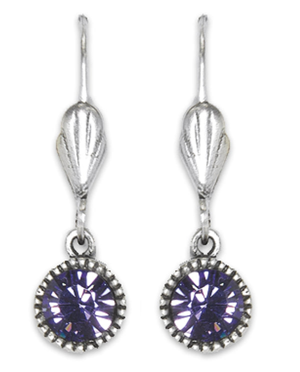Anne Koplik ES03TAZ Simple Drop Earrings with purple Swarovski crystals USA made