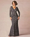 Ursula 33141 Lace Gown With Brooch charcoal lace mother of the bride gown with long sleeves