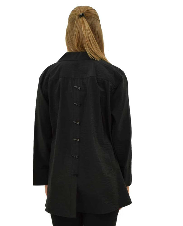 Black Multiples 3/4 Sleeve Turned Up Cuff Blouse back view is made of lightweight fabric