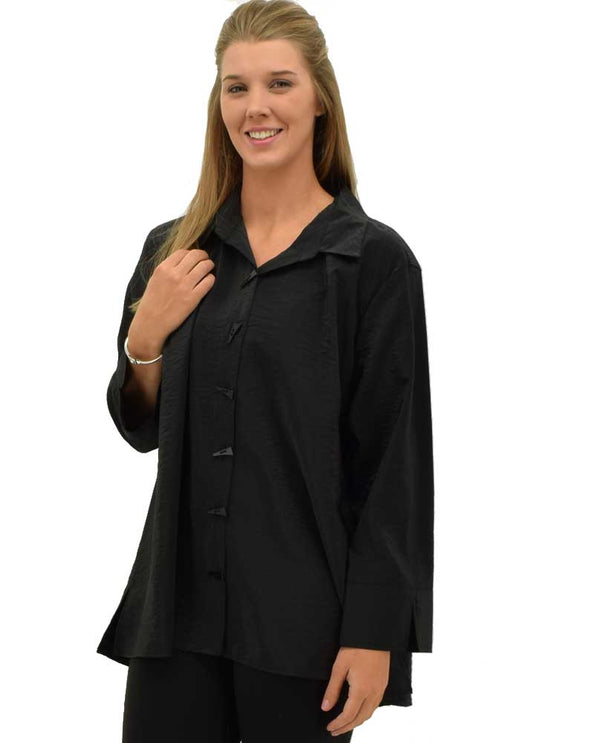 Black Multiples 3/4 Sleeve Turned Up Cuff Blouse is a lightweight blouse with geometric buttons