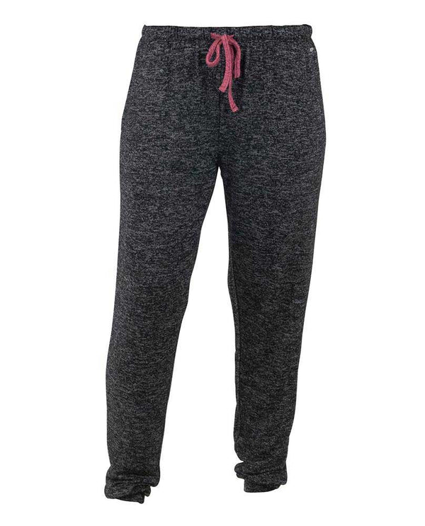 Hello Mello HMCTJ Heathered Jogger Pant in black are lounge pants with drawstring and banded ankles for stylish athletic pant