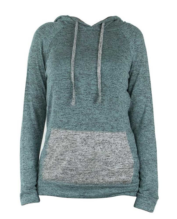 Hello Mello HMCTH Heathered Hood Top in mint with a kangaroo pocket and drawstring hood is great loungewear
