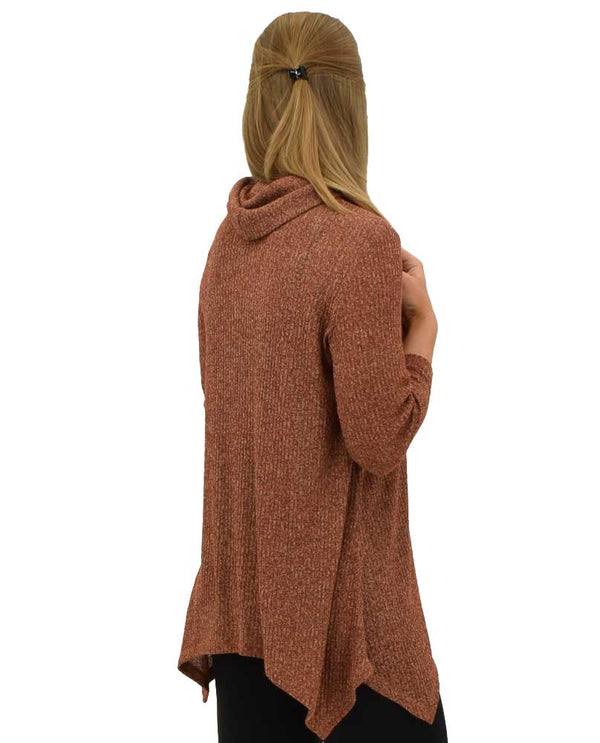 Back of Multiples 3/4 Sleeve Cowl Neck Top in cidr cowl neck top with v shape at the bottom
