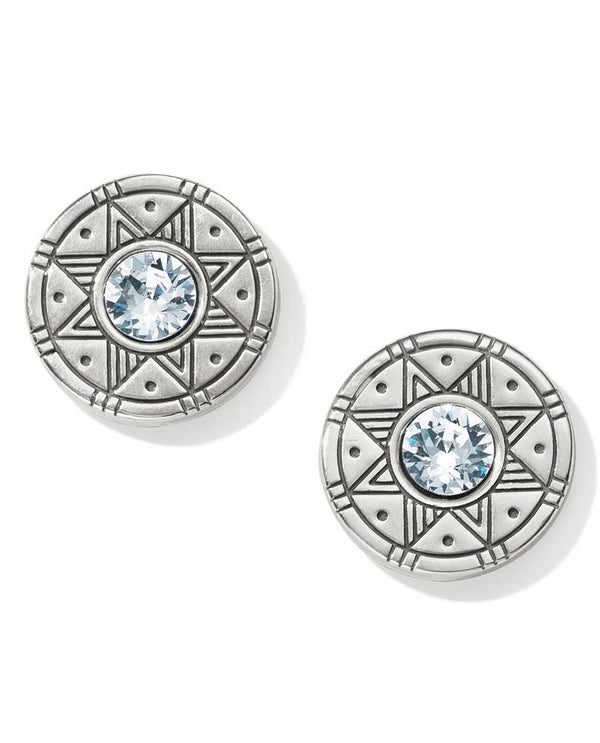 Silver Brighton JA4501 Africa Stories Basket Post Earrings tribal design with Swarovski in center