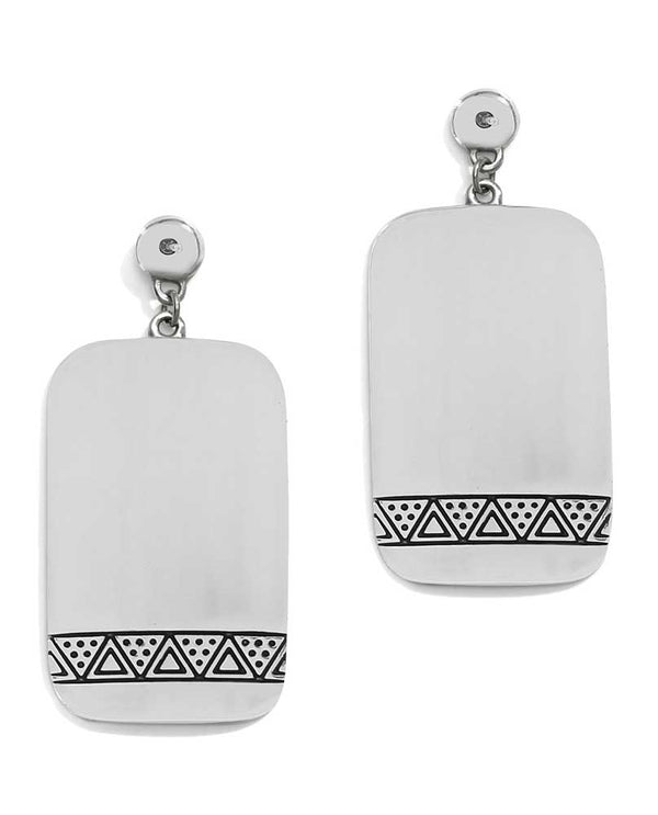 Back of Silver Brighton JA4540 Africa Stories Etched Post Drop Earrings with tribal designs