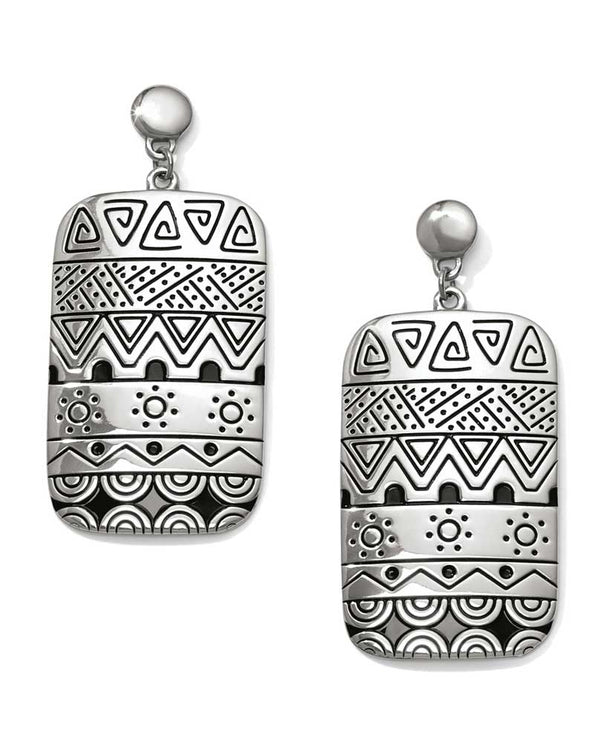 Silver Brighton JA4540 Africa Stories Etched Post Drop Earrings with tribal designs