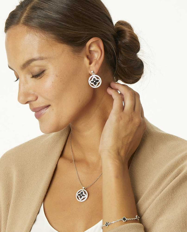 Model wearing Black Brighton Toledo Alto Noir Post Drop Earrings JA4403 with Swarovski