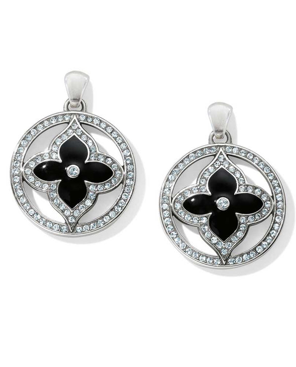 Black Brighton Toledo Alto Noir Post Drop Earrings JA4403 with Swarovski and black flower.