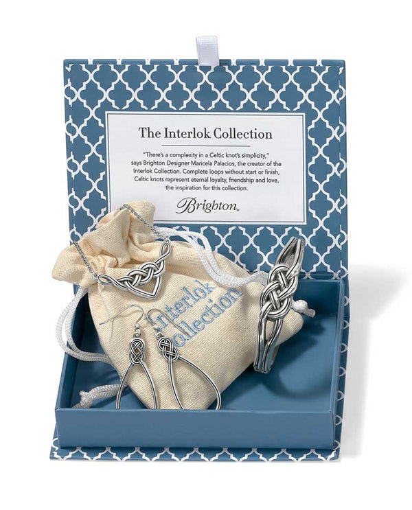 Brighton Woven In Love - Interlok Knot Collection JD5320 includes three silver pieces in blue box