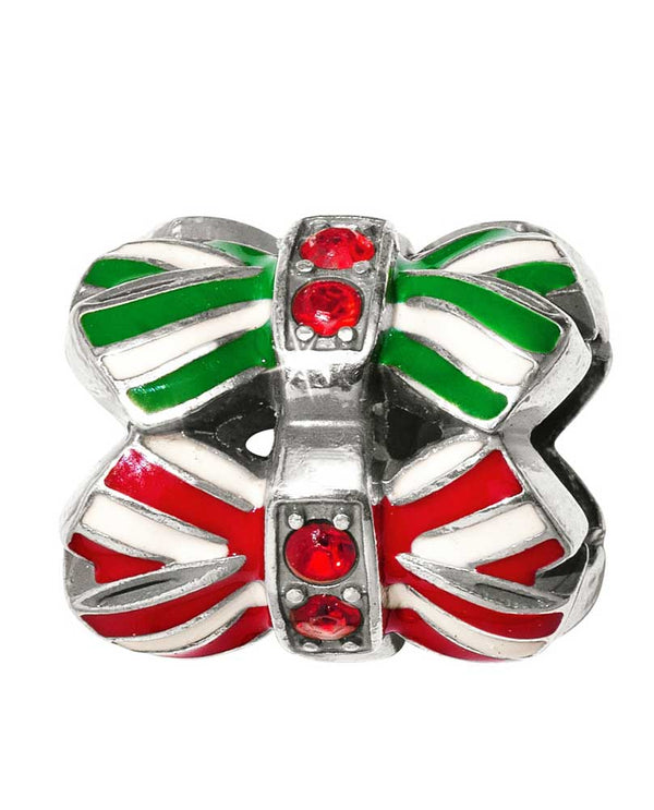 Brighton Stripey Bow Bead JC4643 red and green holiday bow bead with Swarovski in the center