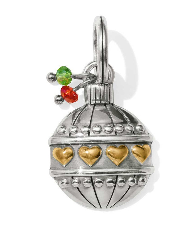 Brighton Christmas Heart Charm JC4683 is a silver Christmas ornament with gold hearts encircling