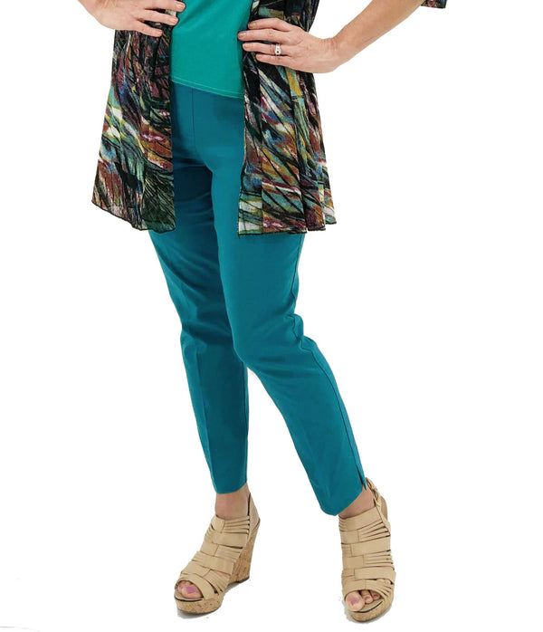 Teal Renuar R1542 Paris Cigarette Pant Cruise comfortable pull on elastic ankle pants