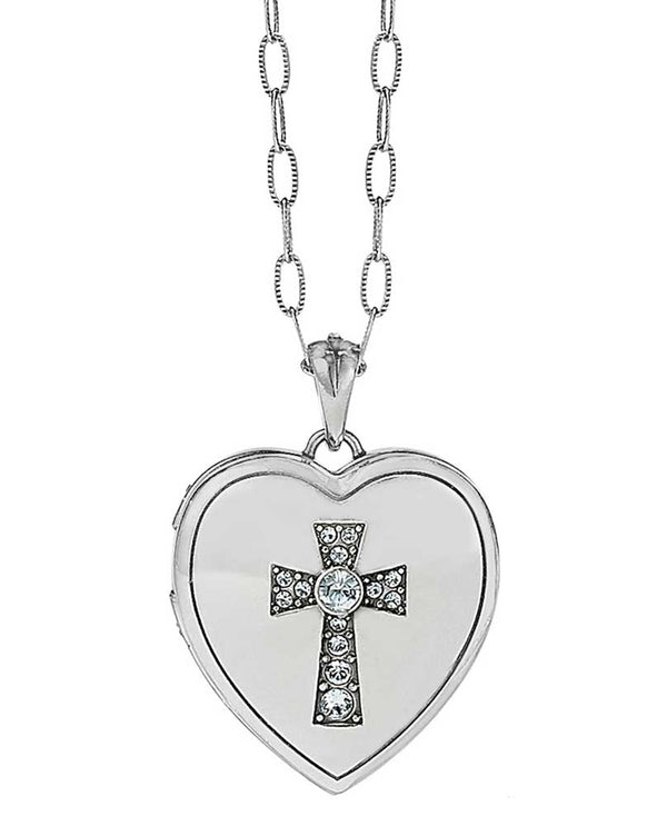 Silver Brighton Call To Love Heart Locket Necklace JL9171 heart shaped locket with cross