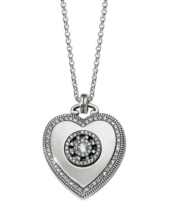 Silver Brighton Illumina Small Heart Locket Necklace JL9231 with Swarovski embellishments