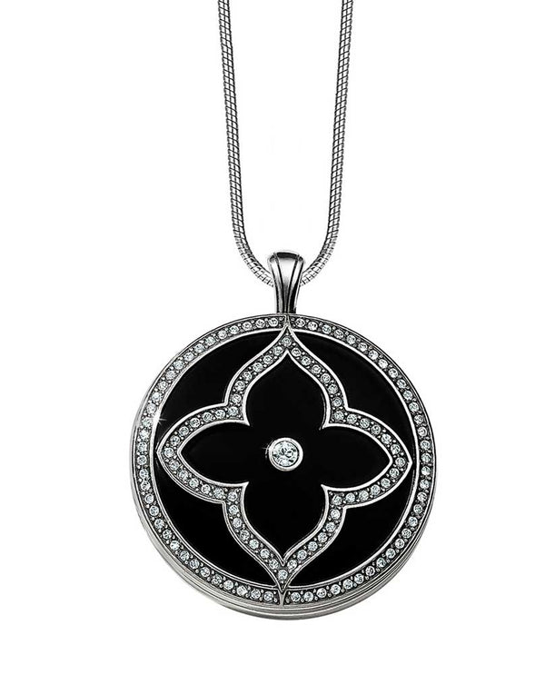 Black-Silver Brighton JL9223 Toledo Alto Noir Convertible Locket Necklace with Swarovski design