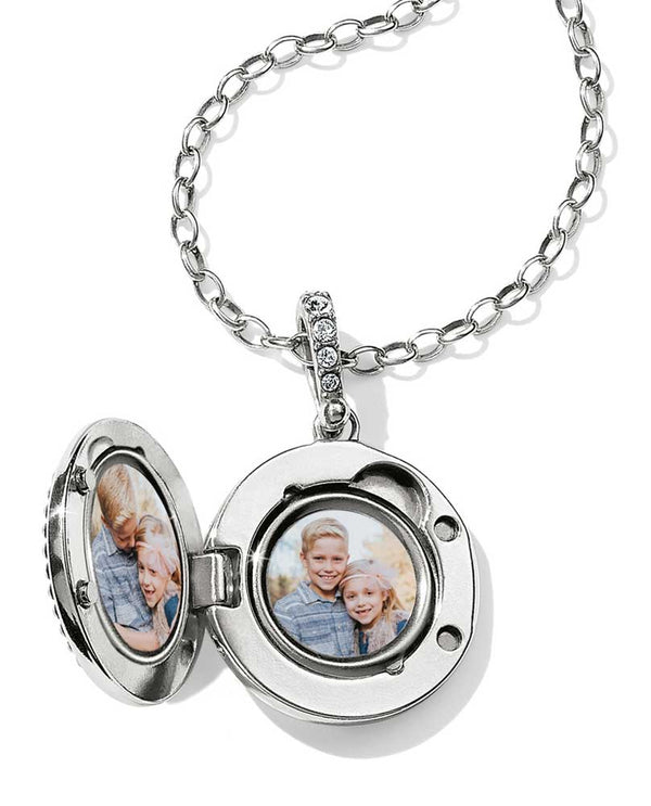 Silver Brighton Twinkle Small Round Locket Necklace JL9331 contemporary locket with 2 photos