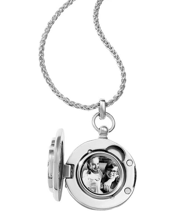 Silver Brighton Interlok Small Round Locket Necklace JL9241 has space for two photos inside