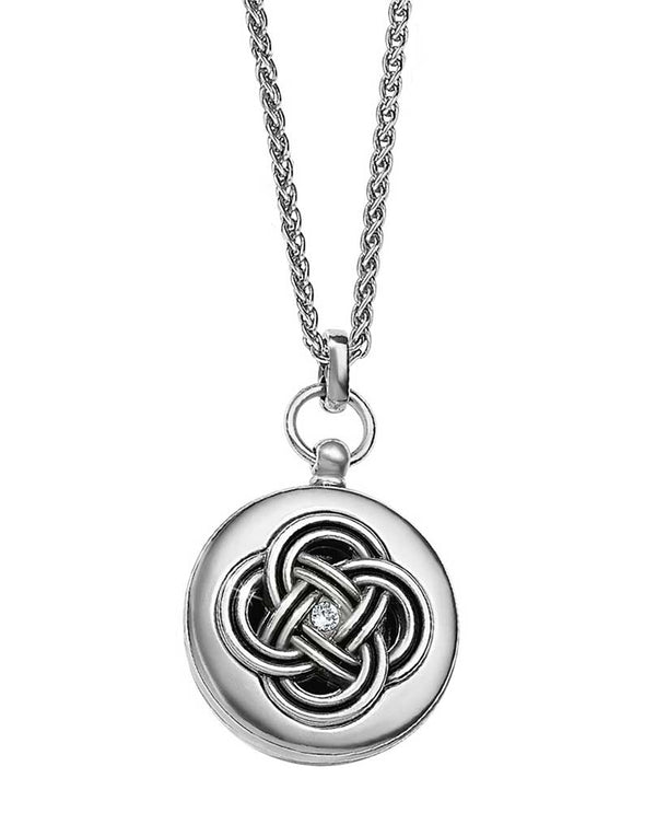 Silver Brighton Interlok Small Round Locket Necklace JL9241 contemporary locket with Swarovski