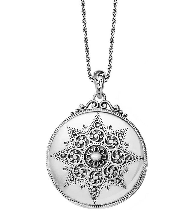 Silver circular Brighton JL9190 Etoile Locket Necklace with eight point star design