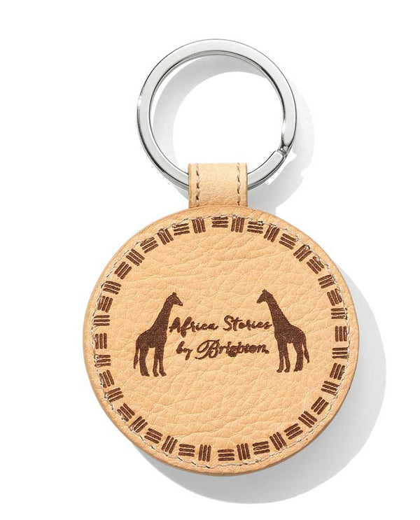 Brighton Africa Ellie Leather Key Fob E17944 with Africa Stories printed on tan leather key fob