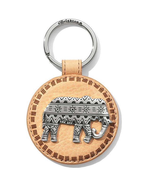 Brighton Africa Ellie Leather Key Fob E17944 with silver tribal print elephant on tan leather