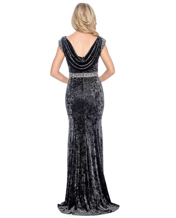 Back of Decode 1.8 Cowl Neck Back Velvet Gown charcoal crushed velvet gown with dipping cowl neck