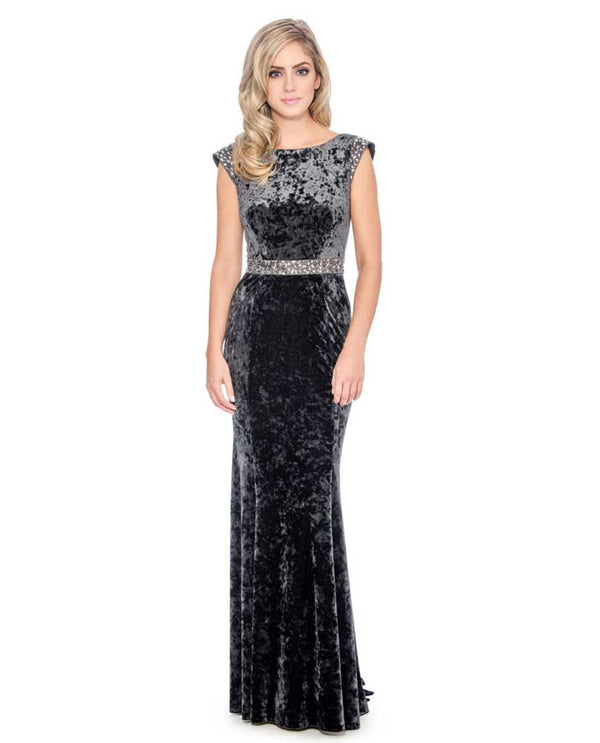 Decode 1.8 Cowl Neck Back Velvet Gown charcoal crushed velvet gown with boatneck and silver belt