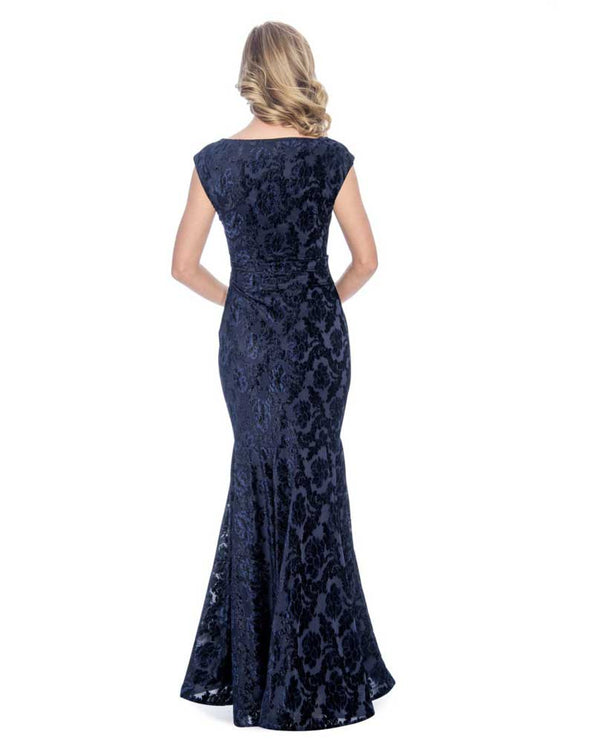 Decode 1.8 Cowl Neck Velvet Burnout Dress navy mermaid style dress with velvet floral design back