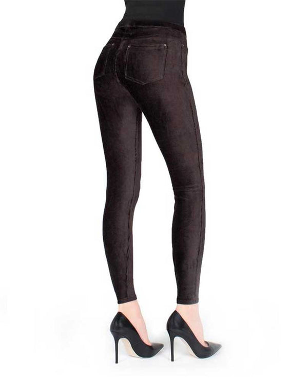 Black Back View Memoi Thin Ribbed Courduroy MQ-001 are comfortable corduroy leggings with back pockets