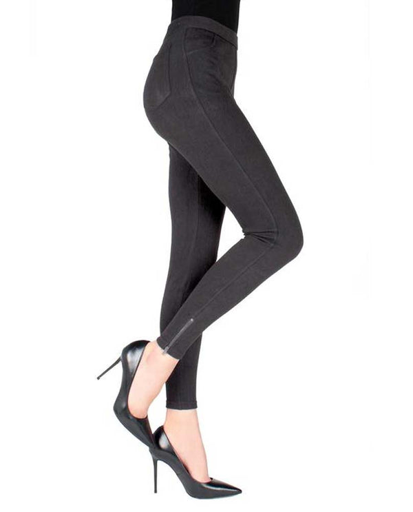 Memoi Ankle Zipper Leggings MQ-019 dark grey are jeggings with pockets and ankle zipper