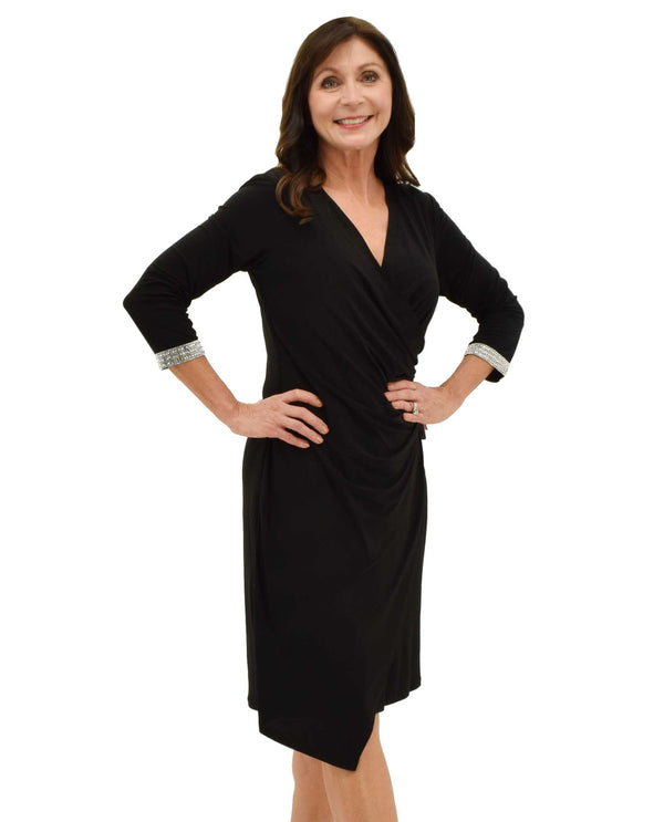 Black 3/4 Sleeve Jewel Trim Dress with rhinestone cuffs and wrap style