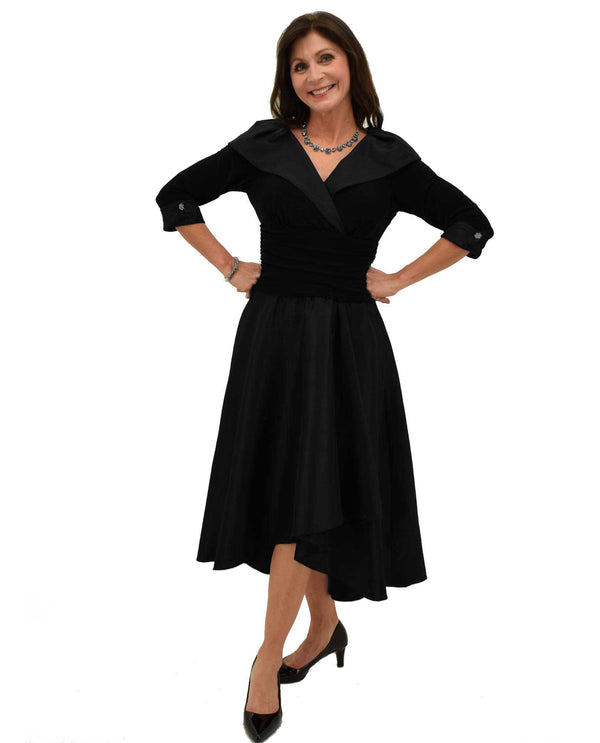 Black Portrait Collar Dress with collar and 3/4 sleeves along with rhinestone cuffs