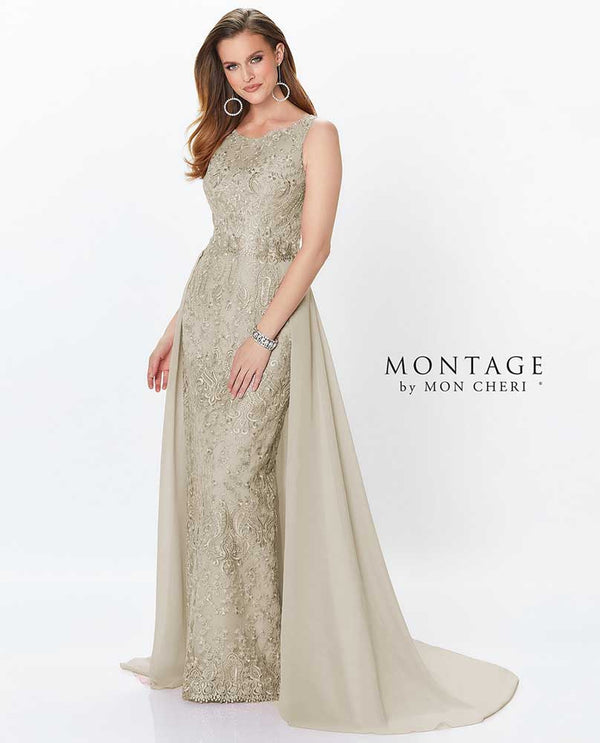Latte Mon Cherie 119940 Sleeveless Sequin Lace Gown with sweetheart waist and detachable train