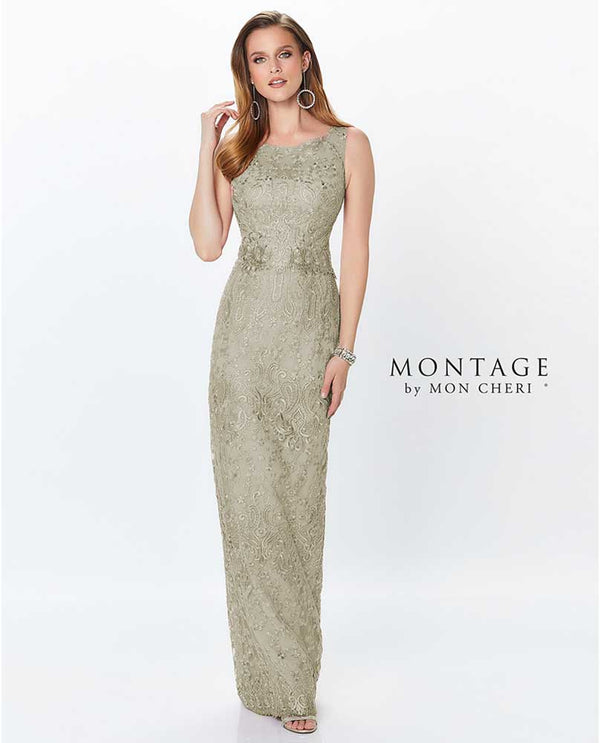 Latte Mon Cherie 119940 Sleeveless Sequin Lace Gown with beaded trim and sweetheart waist