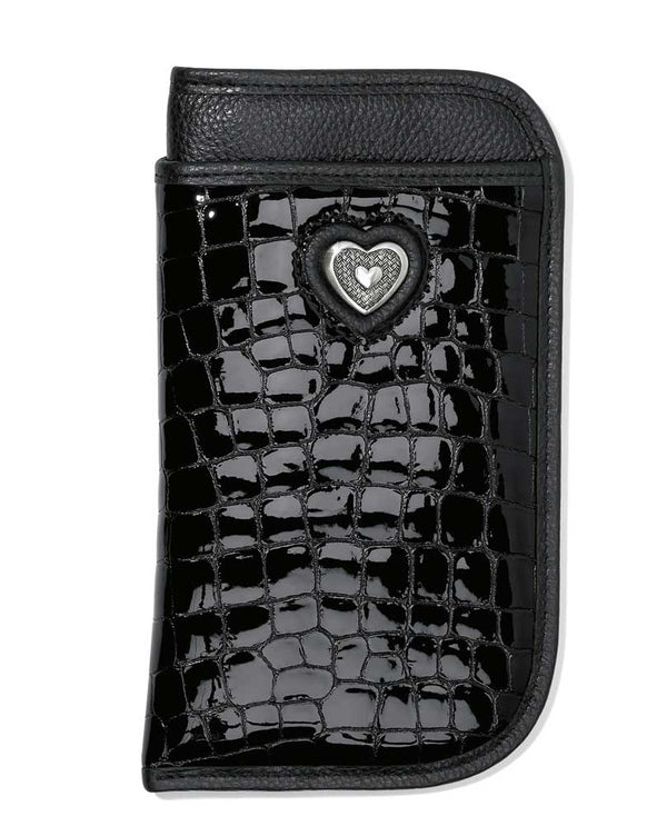 Black Brighton E52833 Bellissimo Heart Double Eyeglass Case with shiny leather and silver heart