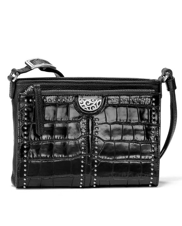 Black shiny leather Pretty Tough City Organizer T4319B with studs and crossbody strap
