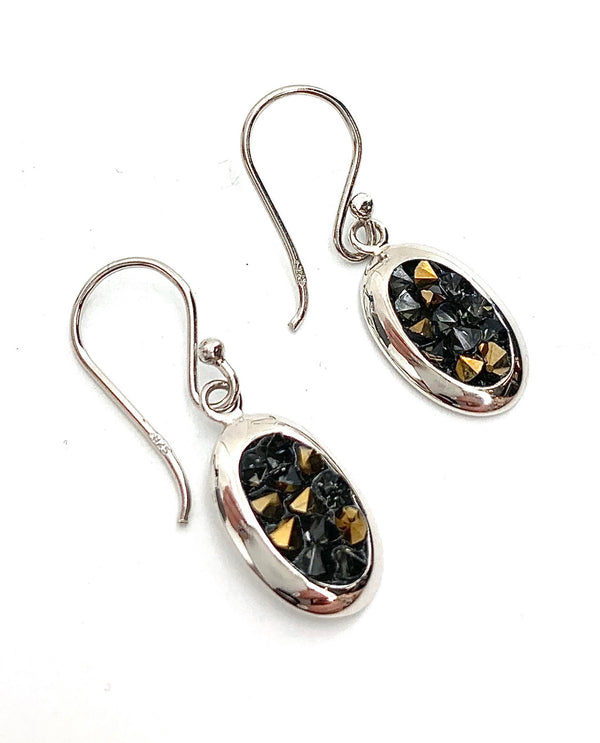 Mediterranean Artists SHEB3527CRFN Sterling Silver Brown and Black Earrings