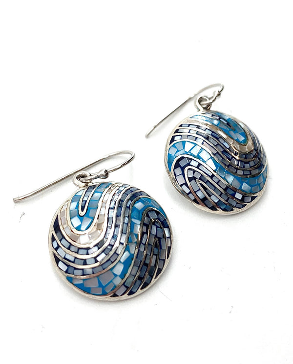 Mediterranean Artists NAOE7199 Sterling Silver Mosaic Blue Earrings