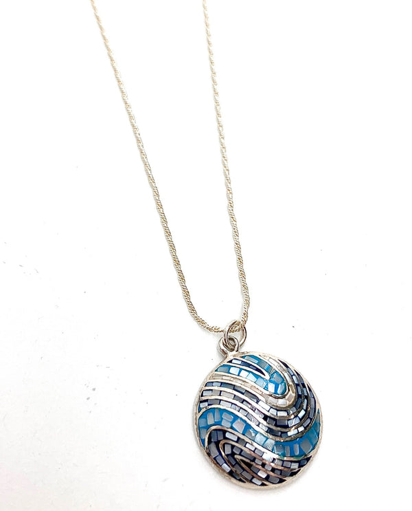 Mediterranean Artists NAOE7199-1 Sterling Silver Mosaic Blue Pendant